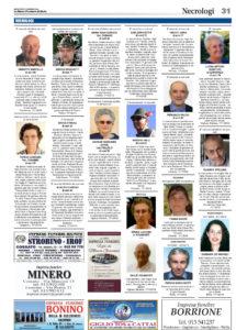La pagina dei necrologi